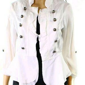 Adorable Hyfve white ruffled jacket